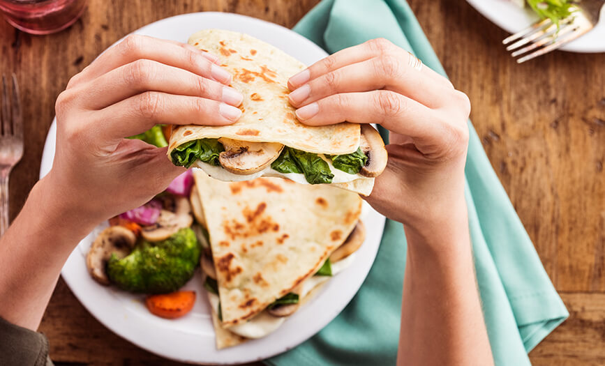 Spinach & Mushroom Piadina Tray with Chicken